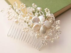 Antique Pearl Beaded Floral Lace Bridal Hair Comb