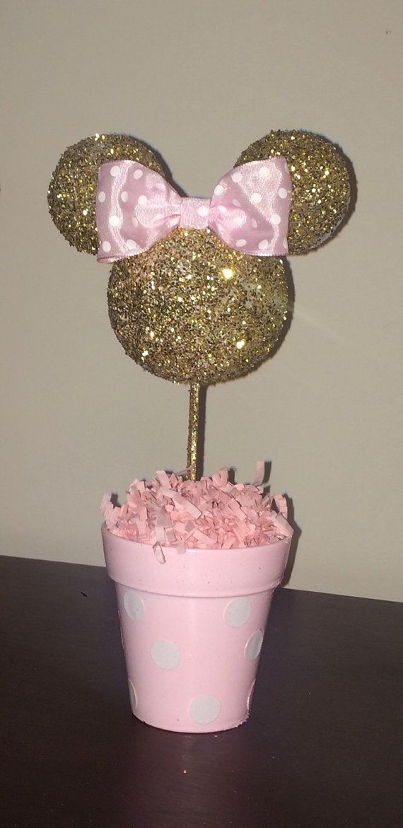Pink and gold glitter minnie mouse inspired centerpiece
