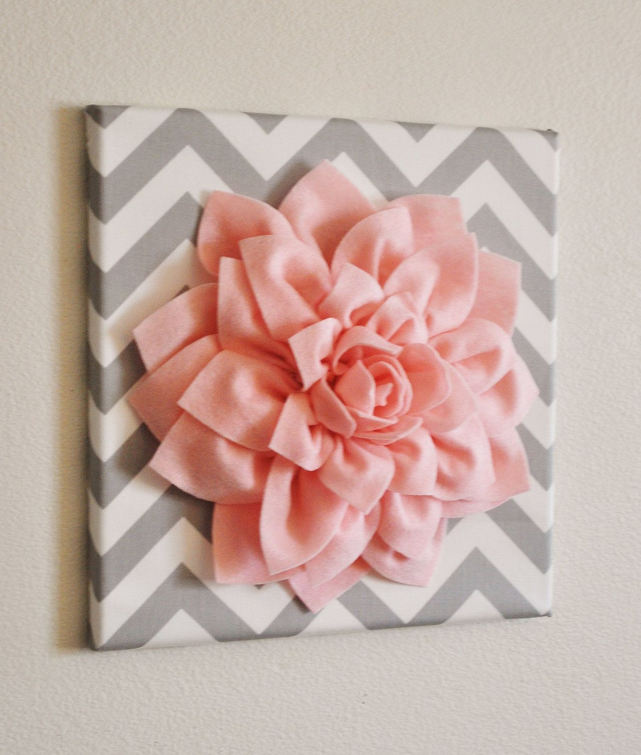 Wall Art -Light Pink Dahlia on Gray and White Chevron 12 x12
