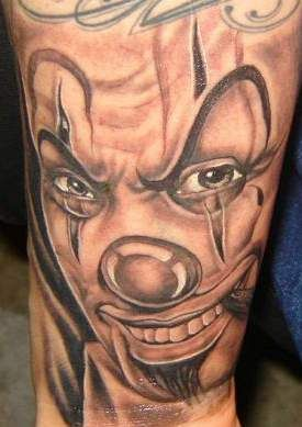 Gangster Clown Tattoo On Full Sleeve | Sleeve | Clown ...