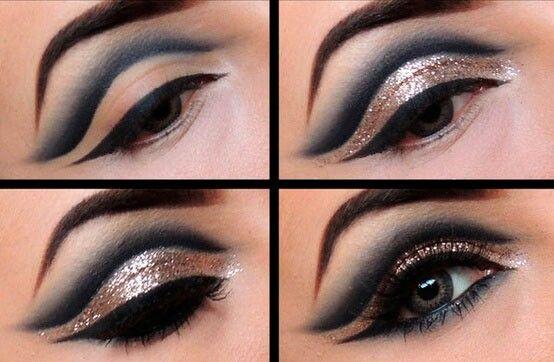 Trucco da sera mezzaluna aperta con glitter su palpebra mobile trucco makeup eye makeup e - Mobile per trucco ...
