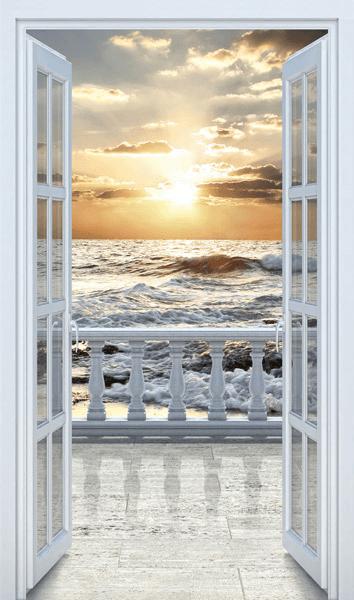 Adesivi Murali Finte Finestre.Adesivi Murali Porta A Balcone Sulla Spiaggia Cos Dla Duszy I