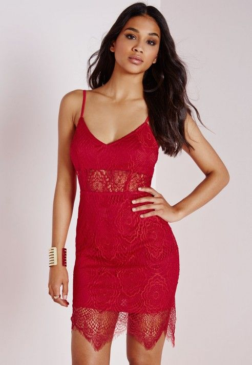 Cocktail dresses red lace bra