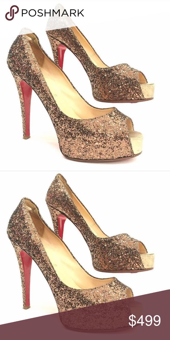 a7dd6dea5dbb ... wholesale christian louboutin size 39 peek toe platform pump christian  louboutin antiqued gold glitter peek toe ...