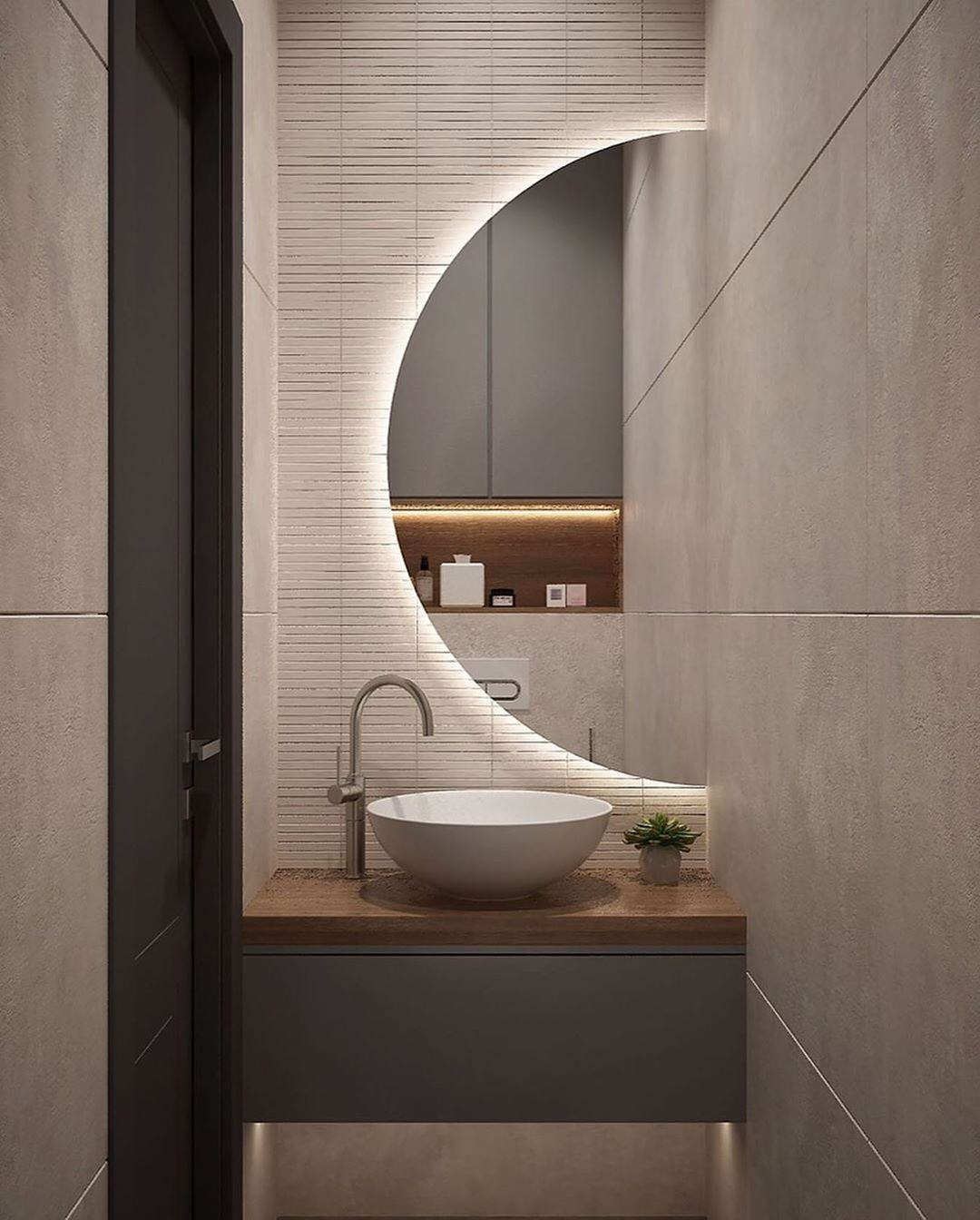 What Did You Think Of This Half Round Half Bath Beautiful Is Different Right Beaut Washroom Design Bathroom Interior Design Bathroom Design [ 1344 x 1080 Pixel ]
