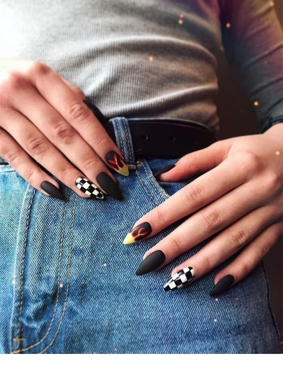 Love This Nail Design Edgy Nails Grunge Nails Checkered Nails
