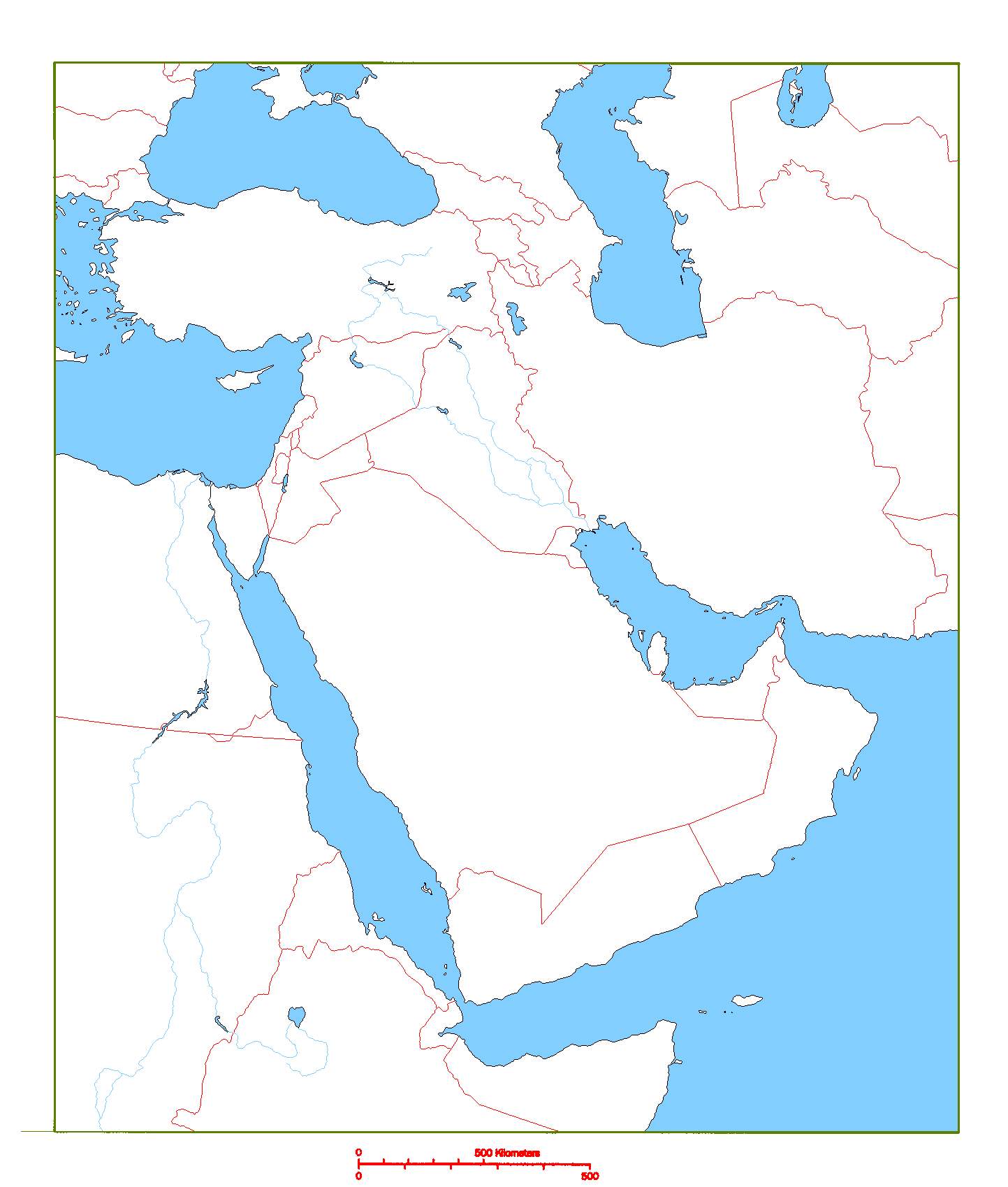 Blank Map Of Middle East Geography Middle East Map Printable