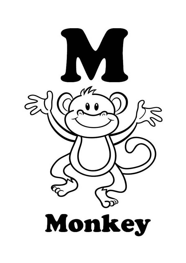 Monkey Letter M For Monkey Coloring Page Jpg Monkey Coloring