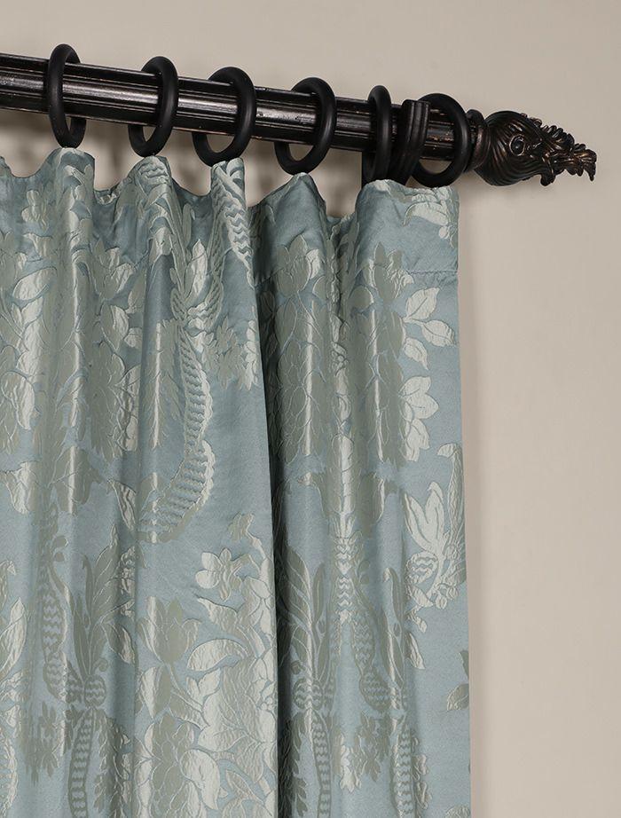 Magdelena Steel Blue Silver Designer Damask Curtain Damask Curtains Panel Curtains Half Price Drapes