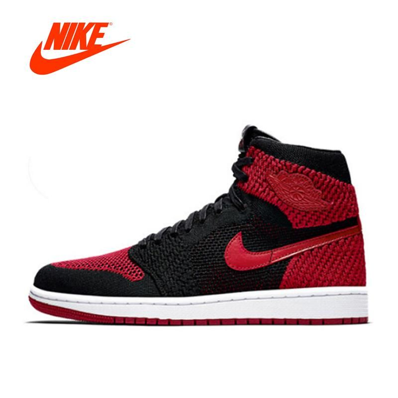 finest selection e4939 6543f Original New Arrival Authentic Official Nike Air Jordan 1 Flyknit AJ1 Men s  Breathable Basketball Shoes Sports Sneakers Non-slip