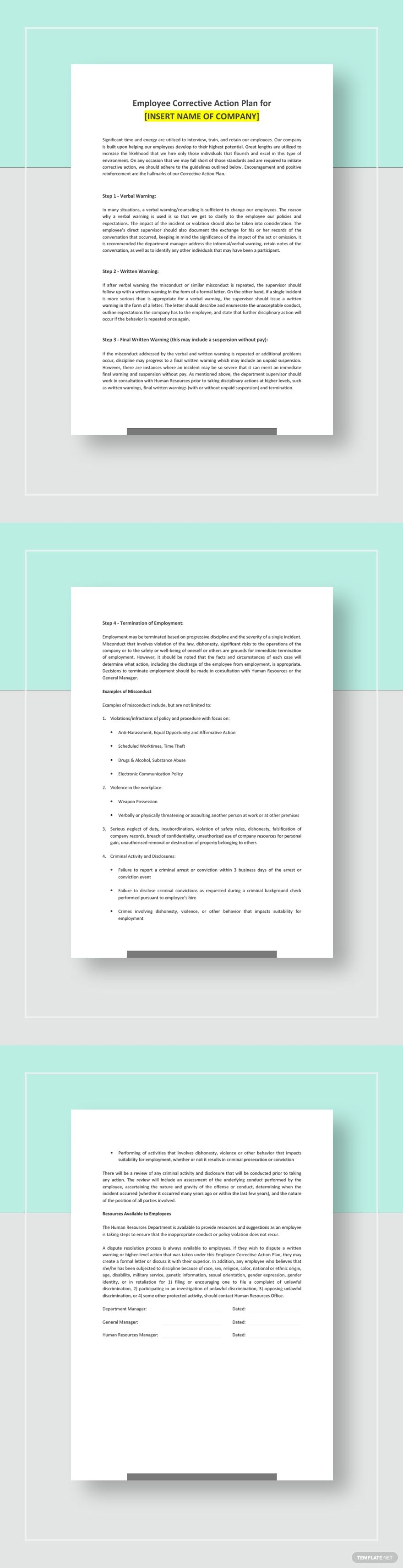 Employee Corrective Action Plan Template Free Pdf Google Docs Word Apple Pages Pdf Template Net Action Plan Template Document Templates Word Doc Corrective action plan template word