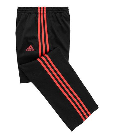Another great find on #zulily! Black & Shock Red Track Pants - Girls #zulilyfinds