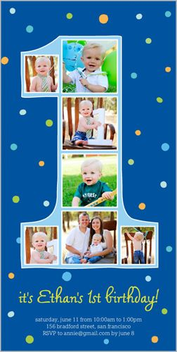 number one filmstrip baby boy first birthday invitation 1st b day