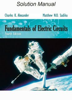 solution manual of fundamentals of electric circuits 4th edition