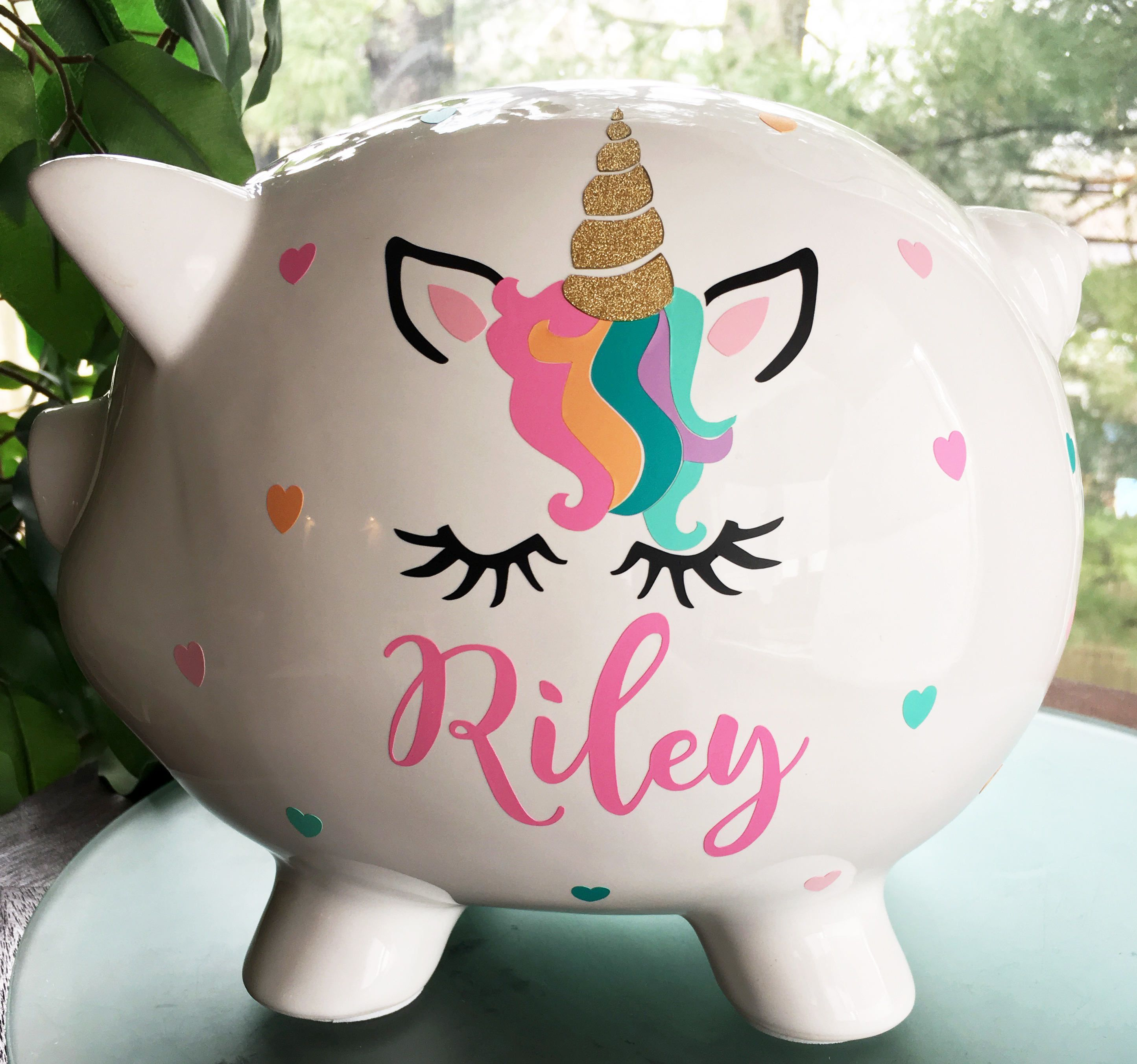 Piggy Bank Idea Personalized Piggy Bank Unicorn Gift Baby Girl Piggy