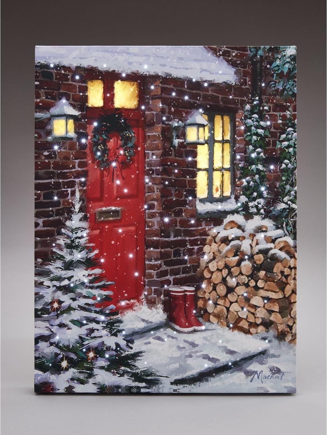 Red Door Light Up Canvas Wall Art Christmas Decoration Https Www Littlewoodsireland Ie Red Door Light Up Canvas Light Up Canvas Framed Art Online Framed Art