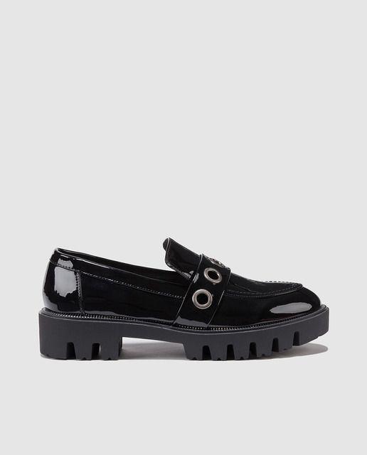 Zapatos Mis De Sixtyseven Charol Mujer Negros Mocasines En Pz0pg7qqw