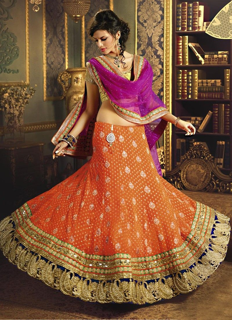 Orange And Hot Pink Classy A-Line Party Wear Lehenga Choli  ||  PRODUCT CODE :- 6144   PRICE :- 13783
