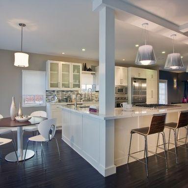 Beam in island kitchen ideas kitchen island with - Kitchen island with post ...