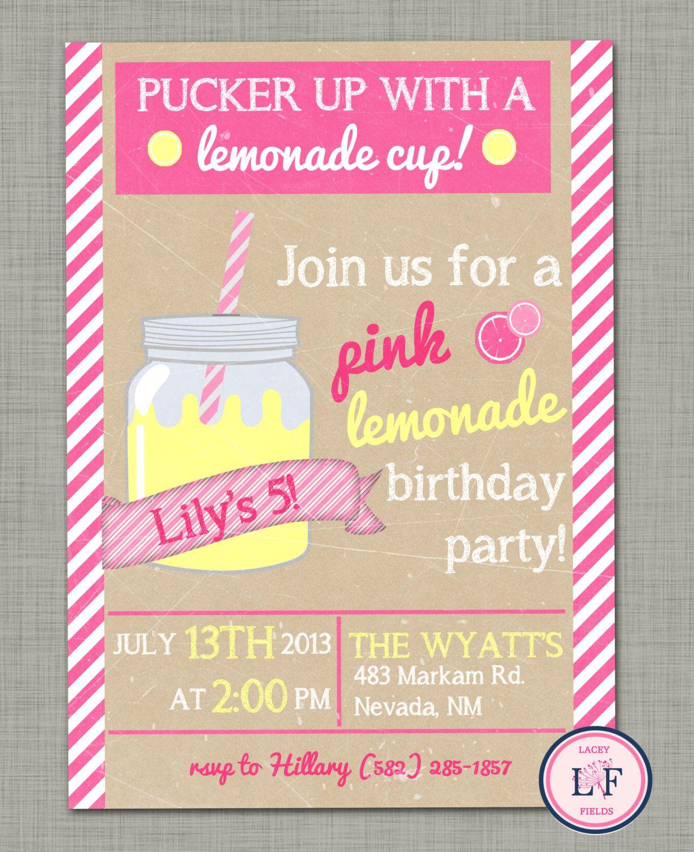 lemonade birthday invitation Google Search PARTY – 17th Birthday Party Invitations