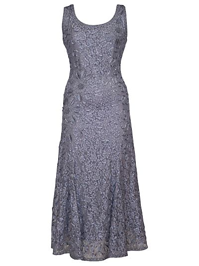 Chesca Lace Cornelli Embroidered Dress, Steel | fashion