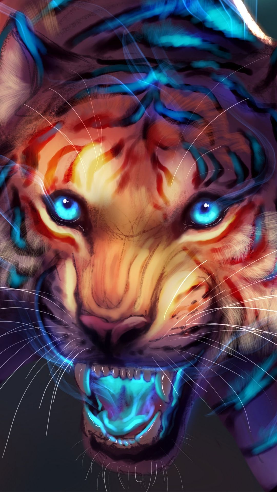 Tap To Download Grin Art Tiger Test1 Art Wallpaper