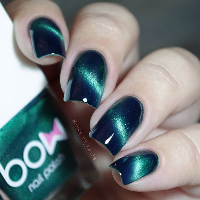 This Magnetic Nail Polish Is A Green With Shimmer To Paint Your