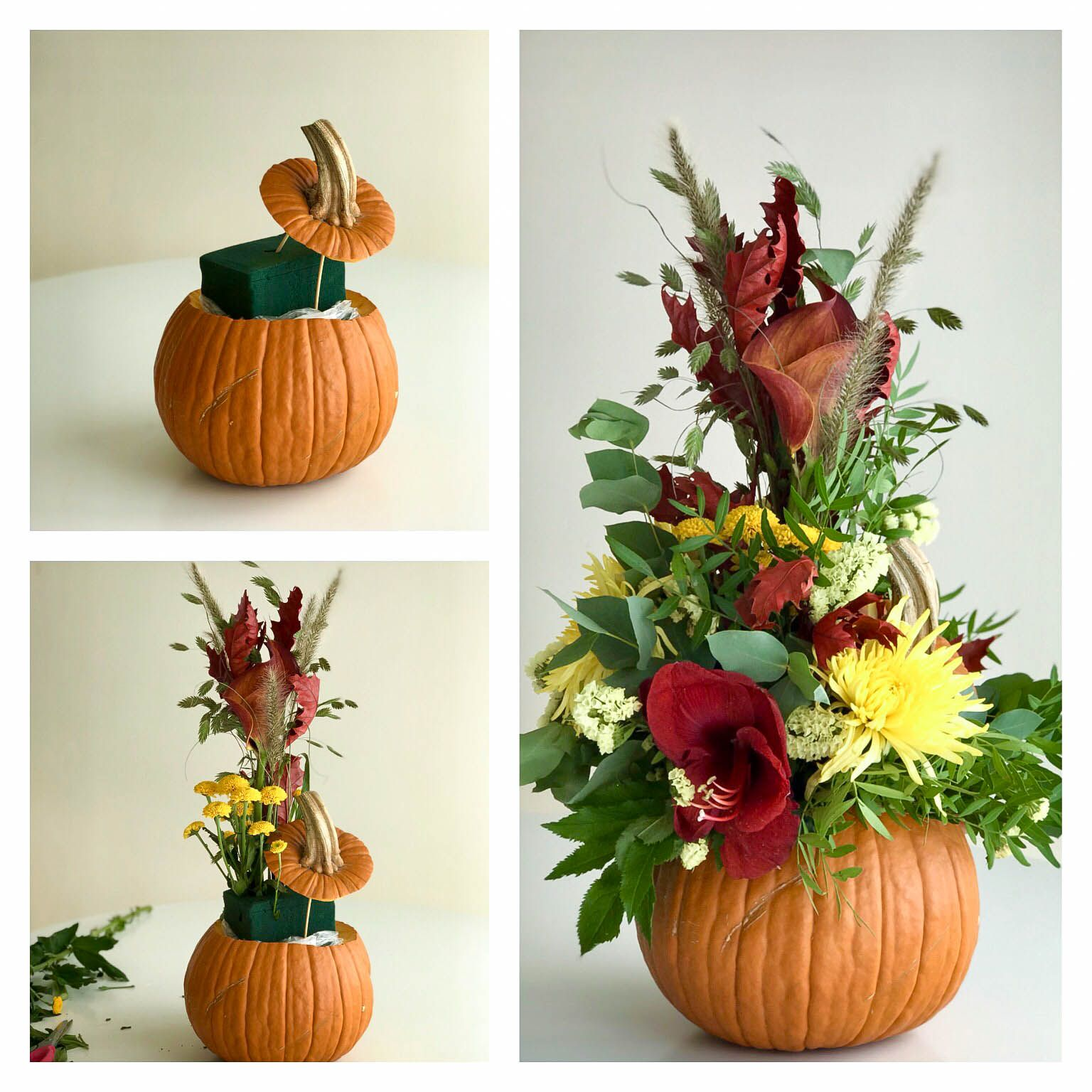 Small Fake Pumpkin Floral Arrangement Thanksgiving Red Caps