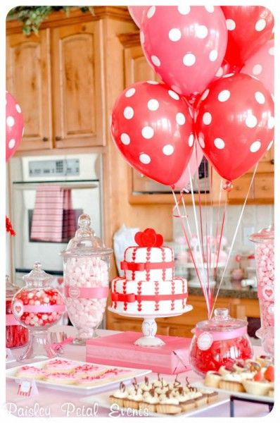 Valentine S Day Cake With Balloons Valentines Birthday Party Valentines Party Valentines Day Party