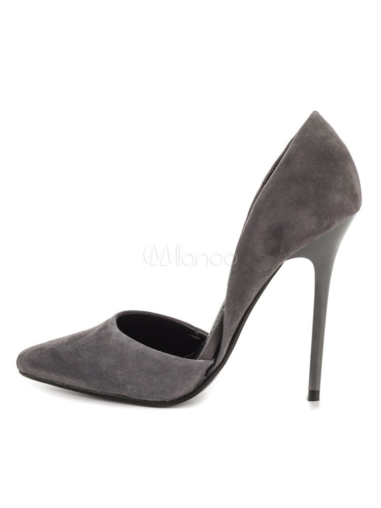 f352cb382ae9b Grey High Heels Suede Pointed Toe Slip On Pumps Women Dress Shoes in ...