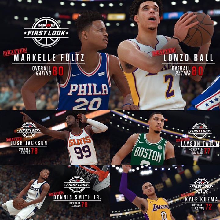 Some of the NBA 2K18 rookies ratings! Lonzo Ball - 80 Markelle Fultz - 80