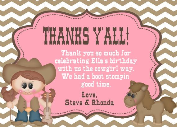 Cowgirl Thank You Card  Cowgirl Party Thank by PartyPicturePerfect