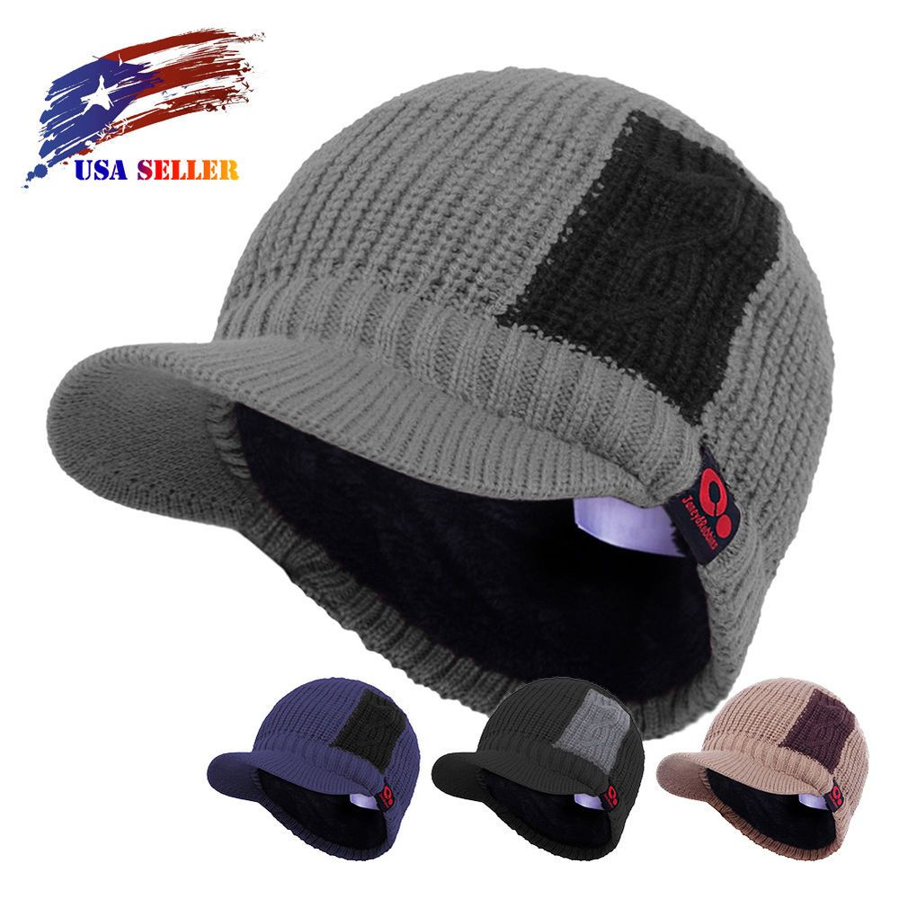 224e8205d16 Men s Winter Two Tone Knit Visor Brim Beanie Hat with Bill Fleece Lined Ski  Cap