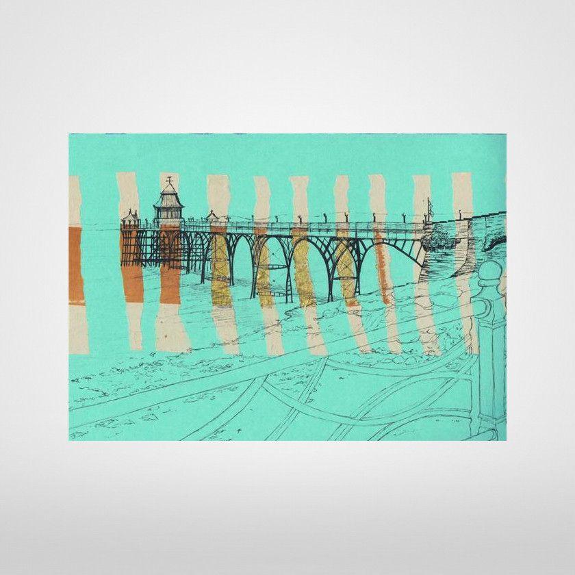 Clevedon Pier On Jade Print By Lisa Malyon Prints Print Original Drawing