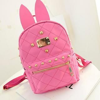 Ear-Accent Studded Faux-Leather Backpack from #YesStyle <3 QeQ YesStyle.co.uk