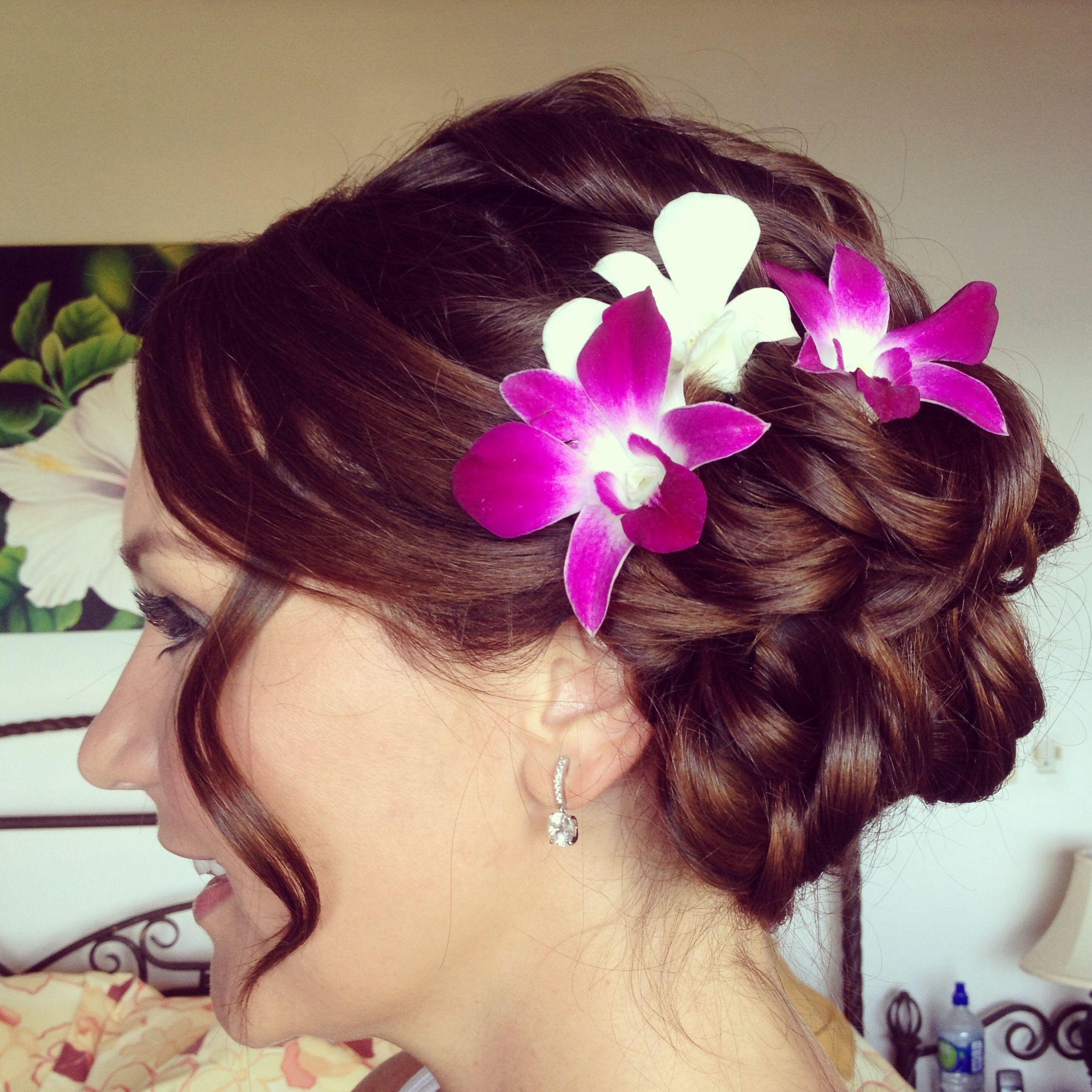 Hair And Makeup By Monica Beachy Updo Tropical Wedding Costa Rica Hair Makeup Wedding Hairstyles Her Hair