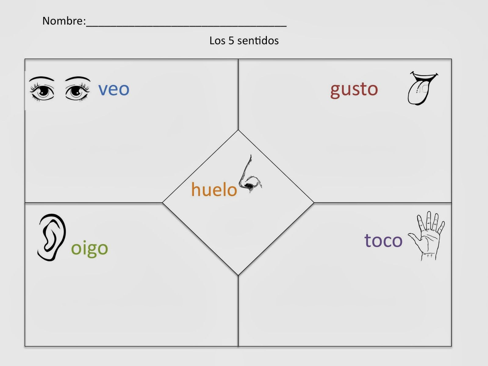 5 Senses In Spanish Cinco Sentidos