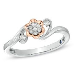 Cherished Promise Collection™ Diamond Accent Flower Promise Ring in 10K Two-Tone Gold - View All Rings - Zales