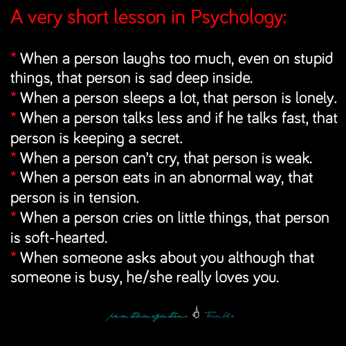 Psychology Facts. I don't know how true this is, but it ...