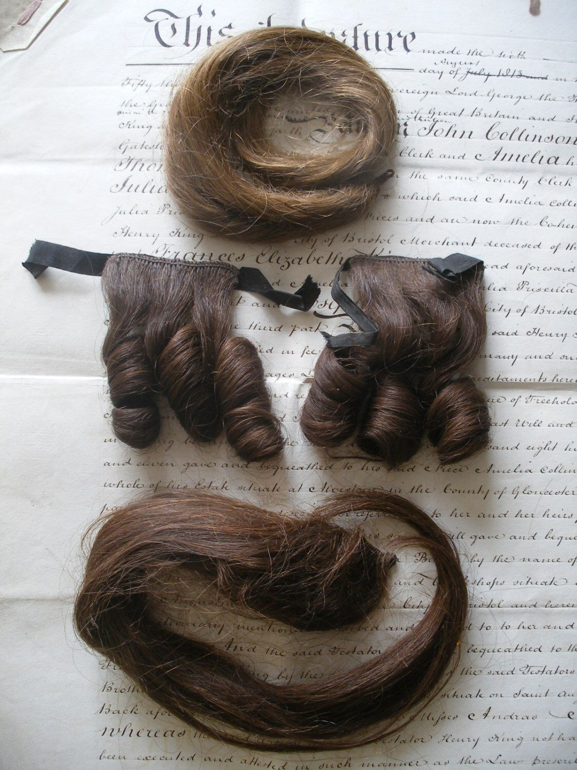 Antique Regency -Victorian hair pieces, ringlets,