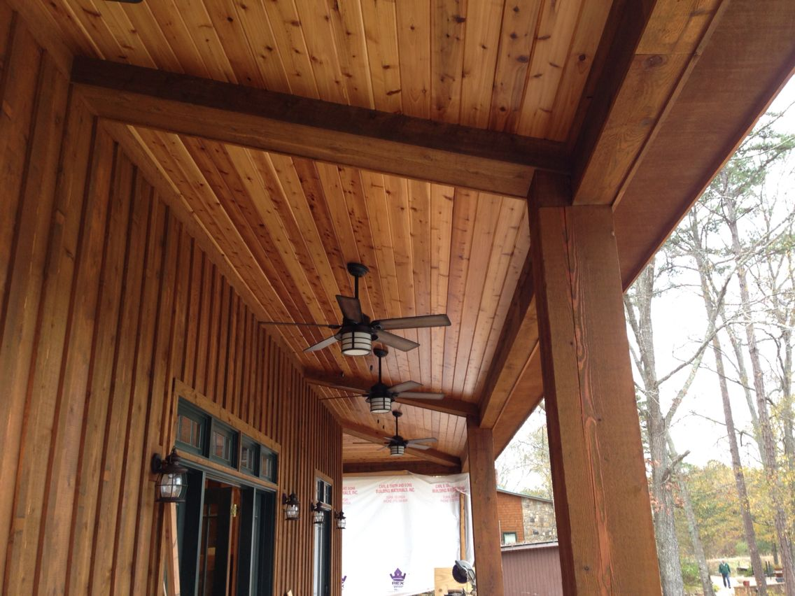 Tongue And Groove Pine Ceiling With Posts And False Beams I Installed In Haralson Ga Tongue And Groove Ceiling Cabin Interiors Home Additions