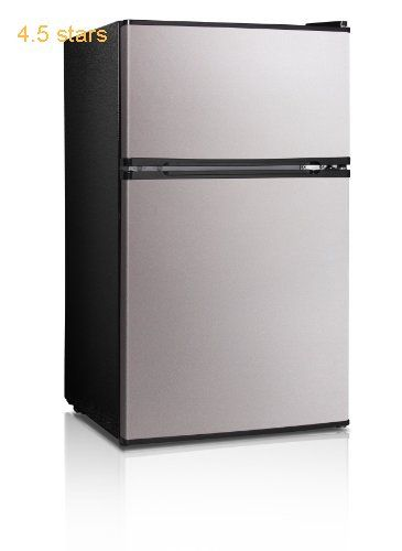 Midea Whd 113fss1 Double Reversible Door Refrigerator And Freezer 3 1 Cubic Feet Stain Compact Refrigerator Refrigerator Compact Refrigerator Freezer