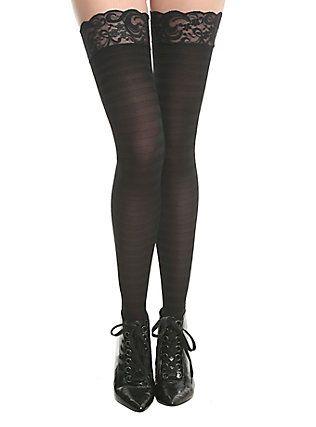 Black Lace Cuff Shadow Stripe Thigh Highs,