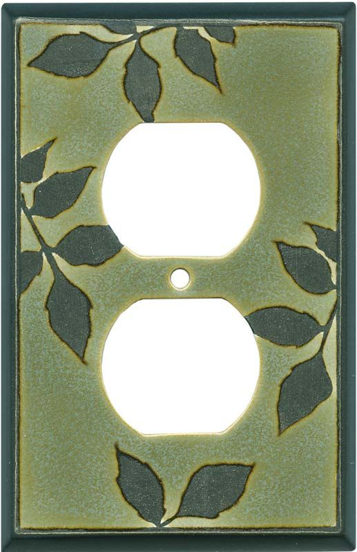 Leaf Silhouette Green Ceramic Wall Plates & Outlet Covers