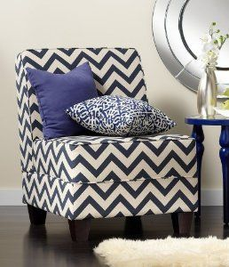 Amazon.com: Milan Navy Zig Zag Armless Accent Chair: Furniture & Decor