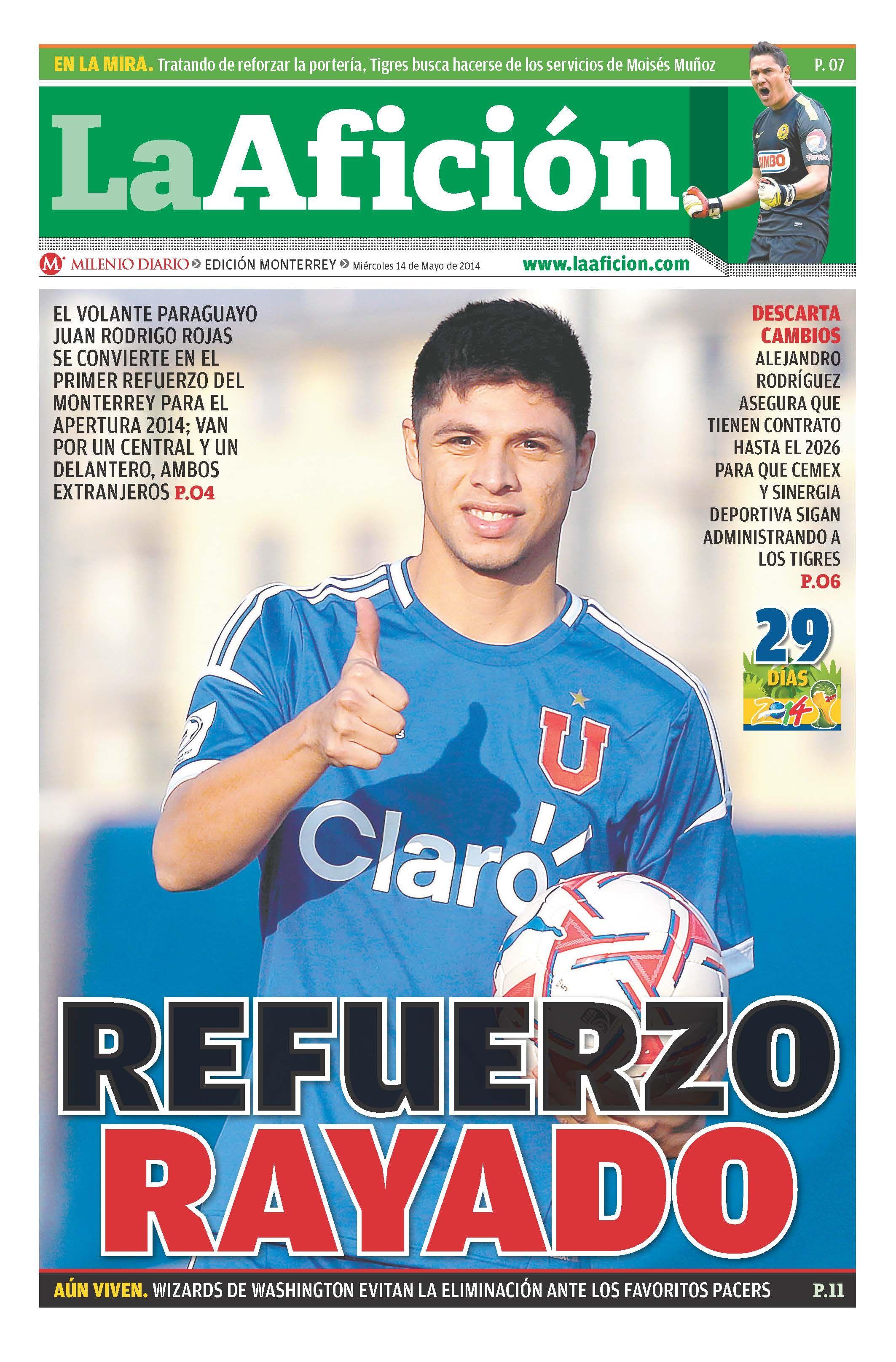 Portada La Afición Monterrey 14/05/14 | REFUERZO RAYADO