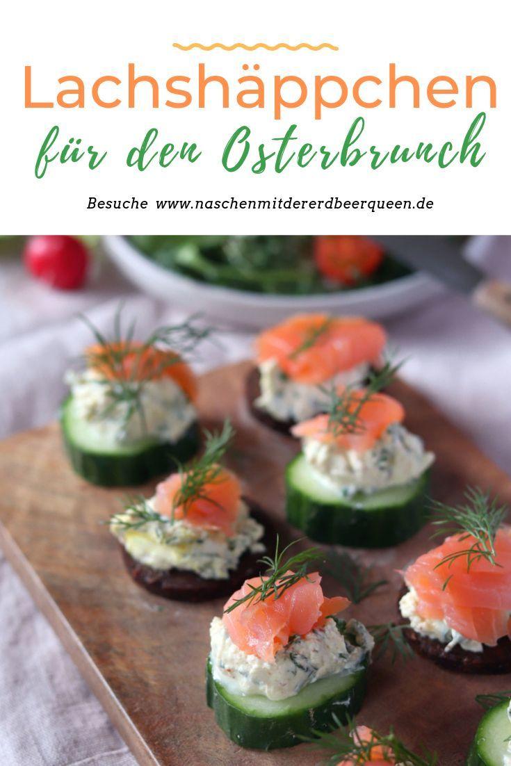 Osterbrunch Rezepte: Lachshäppchen mit Frischkäse, selbstgemachter Kräuterfrischkäse und Speck-Eier-Muffins #fingerfoodappetizers