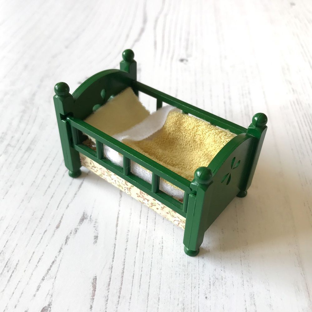 Baby bed ebay india - Vintage Sylvanian Families Tomy Green Furniture Nursery Baby Cot Bed Set Ebay