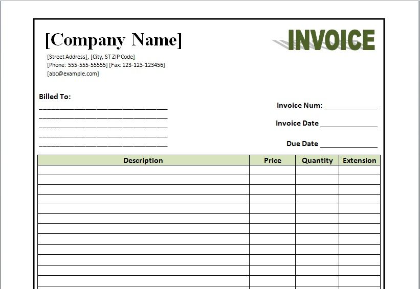 Commercial Invoice Template Microsoft Word Templates Invoice