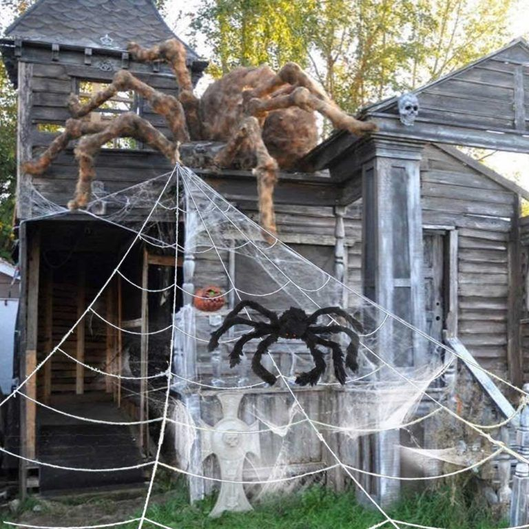 Giant Halloween Outdoor Spider Web With Big Spider Now 7 50 Get Two For 11 99 Swaggrabber Halloween Outdoor Decorations Outdoor Halloween Halloween Spider Decorations